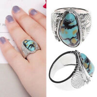 Vintage Women Silver Plated Turquoise Gemstone Ring Wedding Jewelry Size 6-10