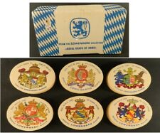 Lowenbrau Royal Coats of Arms 4 Inch Round Beer Coaster Mat Set of 28 With Box