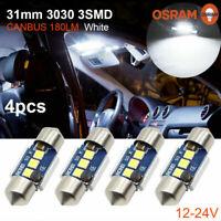 4X 31MM festoon 3030 3SMD C5W Canbus Car LED Dome interior Light Bulbs White 12V
