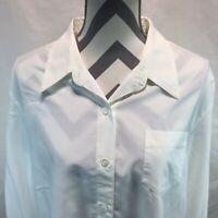 Liz Claiborne Lizsport White Long Sleeve Button Front Shirt Blouse Pocket XL LL3