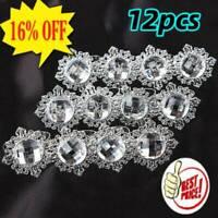 12x Silver Diamond Napkin Ring Serviette Holder Wedding Banquet Dinner Decor