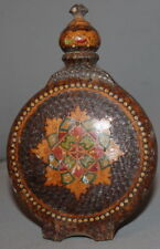 VINTAGE SMALL PYROGRAPHY WOOD BRANDY FLASK