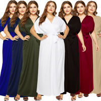 Plus Size Women Casual Batwing Sleeve Wrap Party Dress V-Neck Evening Gown Dress