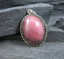 Vintage Sterling Silver 925 Oval Cabochon Rhodonite Pink Stone Cable Pendant