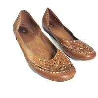 Earth Origins Women's Natalie Alpaca Leather Flats Size 8.5 Slip On Brown Ballet
