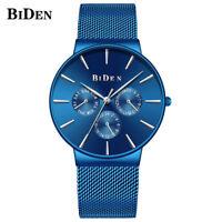 BIDEN Luxury Blue Quartz Wrist Watch Mesh Stainless Steel Band Men Women Watches
