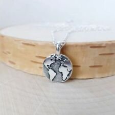 Silver Planet Globe Tiny Round Small World Map Jewelry Pendant Necklace