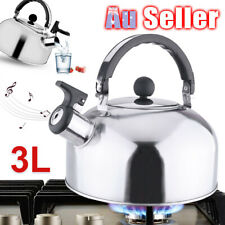 3L Stove Top Camping Kettle Stainless Steel Picnic Whistling Teapot Kitchen ACB#