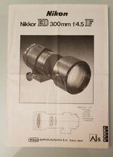 NIKON NIKKOR ED 300 MM F/4.5 IF MANUAL GUIDE INSTRUCTIONS