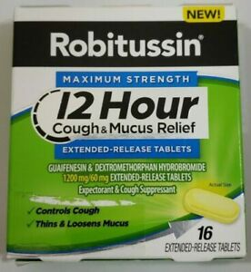Robitussin Maximum Strength 12 Hour Cough & Mucus Relief 16 Tablets Expectorant