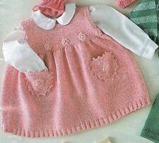 Baby Sleeveless Dress Pinafore 9 - 18 mths  4 Ply Knitting Pattern