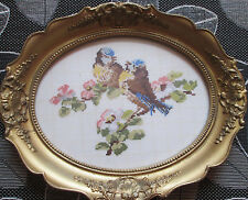 Handmade Needlepoint Frame Two Birds-Titmouses Vintage Antique Gobelin Tapestry