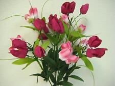 """2 Bushes BEAUTY PINK Mini Tulip Artificial Silk Flowers 20"""" Bouquets 33-981BTPK"""