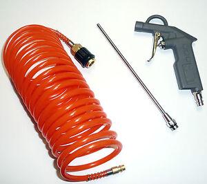 Luft Pistole mit Druckluft Spiral Schlauch 5m zum Reinigen der LKW Kabine usw.