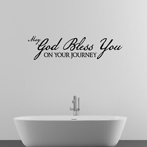 May God Bless You Religious Quote Wall Sticker Decal Transfer Home Matt Vinyl UK