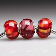5 Murano Glass European Bead Lampwork Round Spacer Charm Bracelet Red LB0058