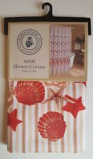 Seashells Fabric Shower Curtain Caribbean Joe MIMI 70 X 72 Coastal Red Orange