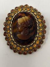 "Dodd's Vintage Tortoise Shell Glass Cameo Amber Rhinestone Brooch Pin 2.5"""