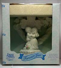 """1996 Precious Moments """"Forever True"""" Porcelain Musical wedding cake topper"""