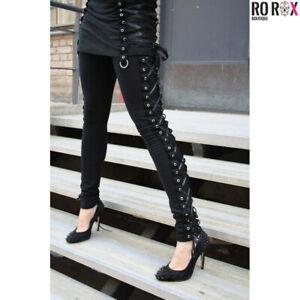 Vixxsin Punk Lace Up Corset Sexy Long Leggings Skinny Stretch Full Length Gothic