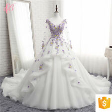 LONG SLEEVED  PURPLE 3D FLOWERS HEAVY BEADED BALL GOWN WEDDING DRESS WITH TRAIN