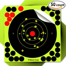 "50PK 8"" Reactive Handgun Shooting Target 22cm Self-Adhesive Bull Targets Rifle"