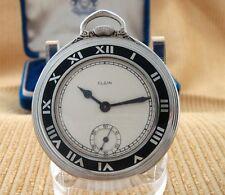 BEAUTIFUL Men's Deco Era Elgin Gentlemen's Pocket Watch w/Enamel Bezel -SERVICED