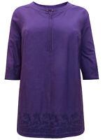 Shirt Longshirt Bluse Tunika Ulla Popken dunkel lila 46 48 50 52 54 56 58 60