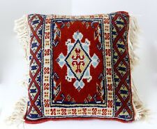 Hand Knotted Oriental Rug Pillow 11X11 Wool Middle East Cushion Red Blue Fringe
