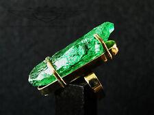 Wunderschöner Ring, 24 Karat (999er) vergoldet, Kristall, Grüner Cluster,Emerald