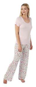 Ladies Soft Short Sleeve Viscose Pyjama Set Floral Lounge wear  Nightwear 8 - 20