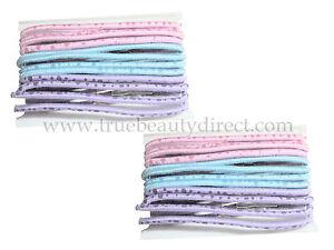 2 PACKS OF 12 BLUE PINK PURPLE ELASTICS HAIRBANDS BUBBLES DESIGN HAIR PONIES NEW