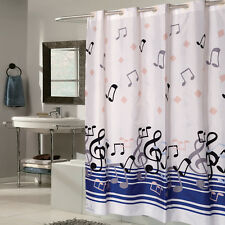 """Ez On Fabric Shower Curtain Blue Music Note With Built in Hooks 70""""x75"""""""