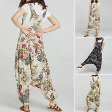 ZANZEA Womens Sleeveless Cotton Casual Loose Jumpsuits Playsuits Trousers Plus