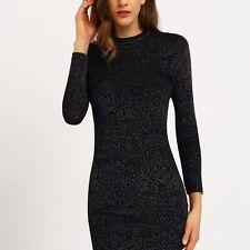 OEUVRE Jacquard Long Sleeve Slim Fit Dress SIZE 10 BLACK