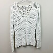 Ann Taylor LOFT White Chunky Knit V-Neck Sweater Womens Size Small