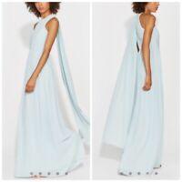 Halston Heritage Plisse Georgette Back Drape Gown Dew Women's Size 12 Nwt
