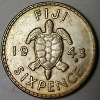 1943 S Fiji 6 Pence Turtle Almost Uncirculated King George VI Coin