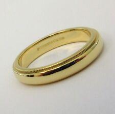 TIFFANY & Co. Classic 18K Yellow Gold 4mm Milgrain Wedding Band Ring 8