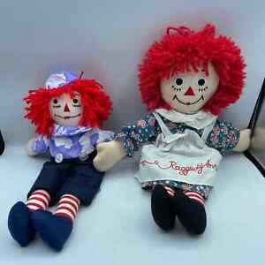 Applause Raggedy Ann and Andy Dolls Stuffed Good condition 2003