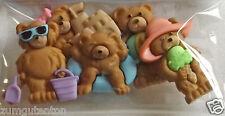 """5 Knöpfe ca  20 bis 30 mm Bären """"Summer Bears"""""""