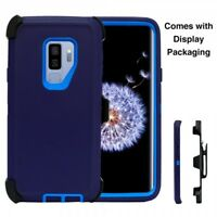 For Samsung Galaxy S9 Case (Belt Clip Holster Fits Otterbox Defender) NAVY