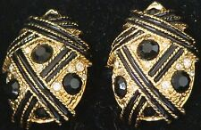 GOLDTONE Vintage EARRINGS w. BLK & RHINESTONES Clip-On 1-3 NEW Retail $18 1981