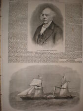 Paddle steamer HMS Investigator 1862 old print and article