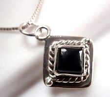 Very Small Black Onyx Square Pendant Rope Style Accent 925 Sterling Silver New