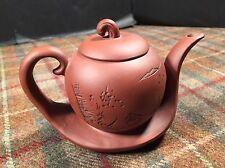 "Yixing Miniature Small Tea Kettle Pot Glazed Pottery Stunning 4.25"" Tall Brown"