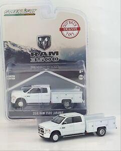 1:64 GreenLight *WHITE* 2018 RAM 3500 Laramie DUALLY SERVICE Truck *NIP*
