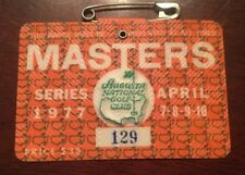 1977 MASTERS GOLF AUGUSTA NATIONAL BADGE TICKET TOM WATSON WINS RARE LOW NUMBER
