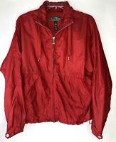 L-RL Ralph Lauren Active Red Windbreaker Jacket Zip Women's Size Large