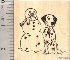 Dalmatian Dog with Snowman Rubber Stamp J12508 WM